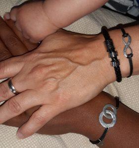 Leren armband met ringen