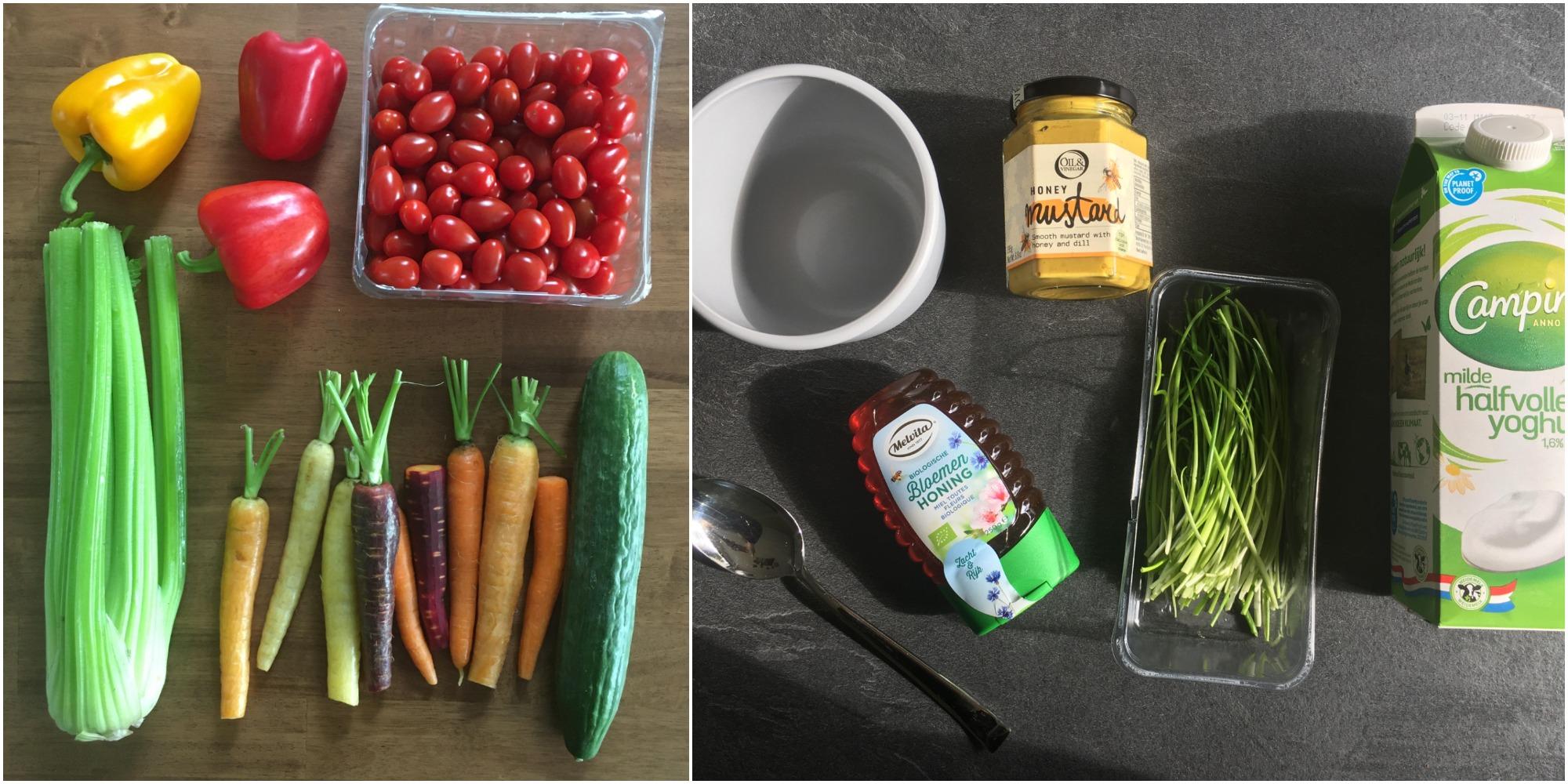Heks'nkaas, melvitta honing, yoghurt, komkommer, paprika, wortel, bleekselderij, tomaat